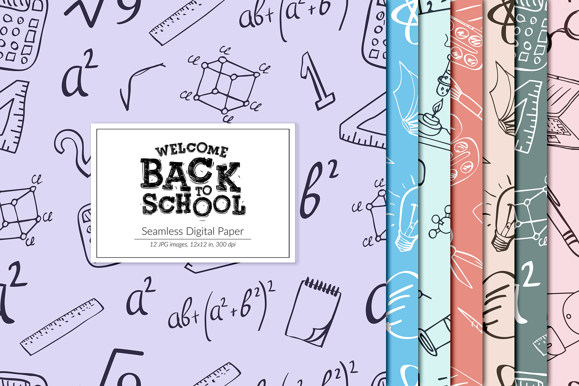 Back To School Seamless Patterns example image 1