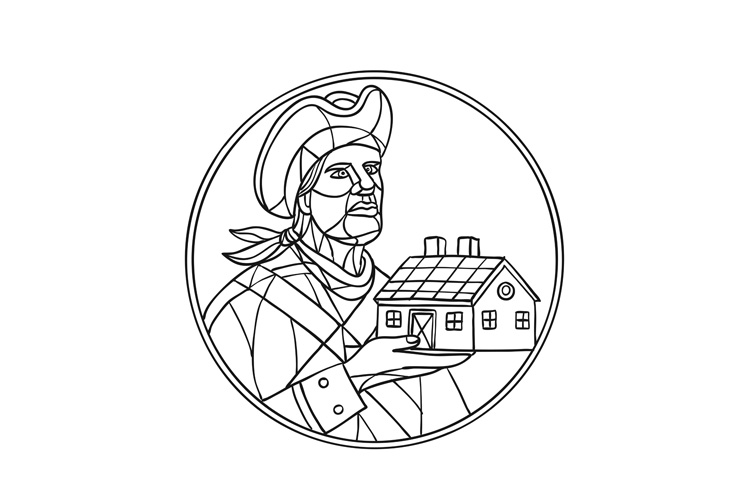 American Patriot House Mosaic Black and White example image 1