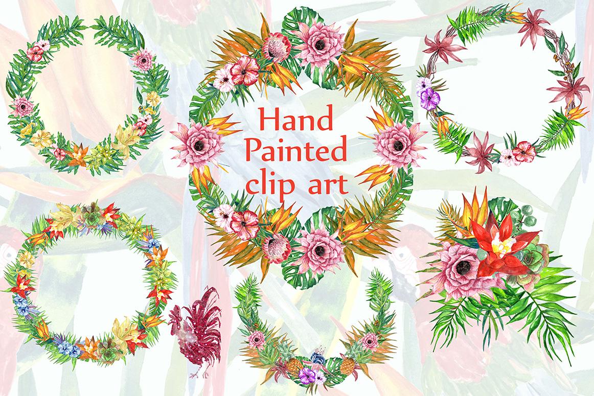 Tropic watercolor clip art example image 2