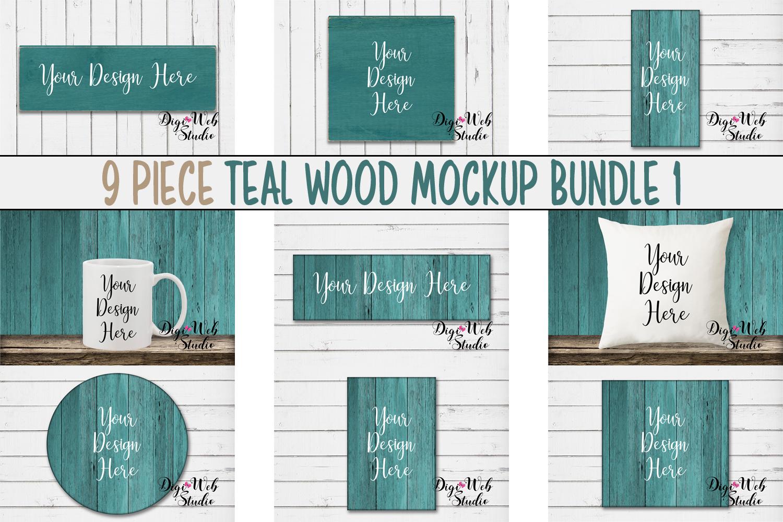 Mockup Bundle - Teal Wood Signs, Pillow & Coffee Mug example image 1