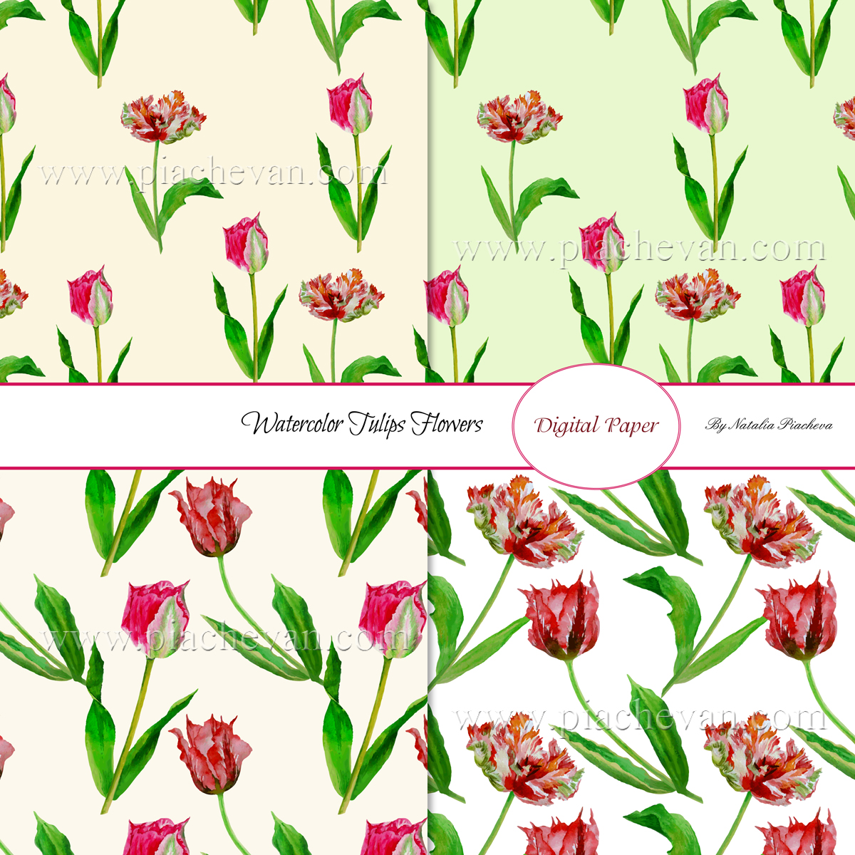 Spring Tulips. 8 Patterns example image 2