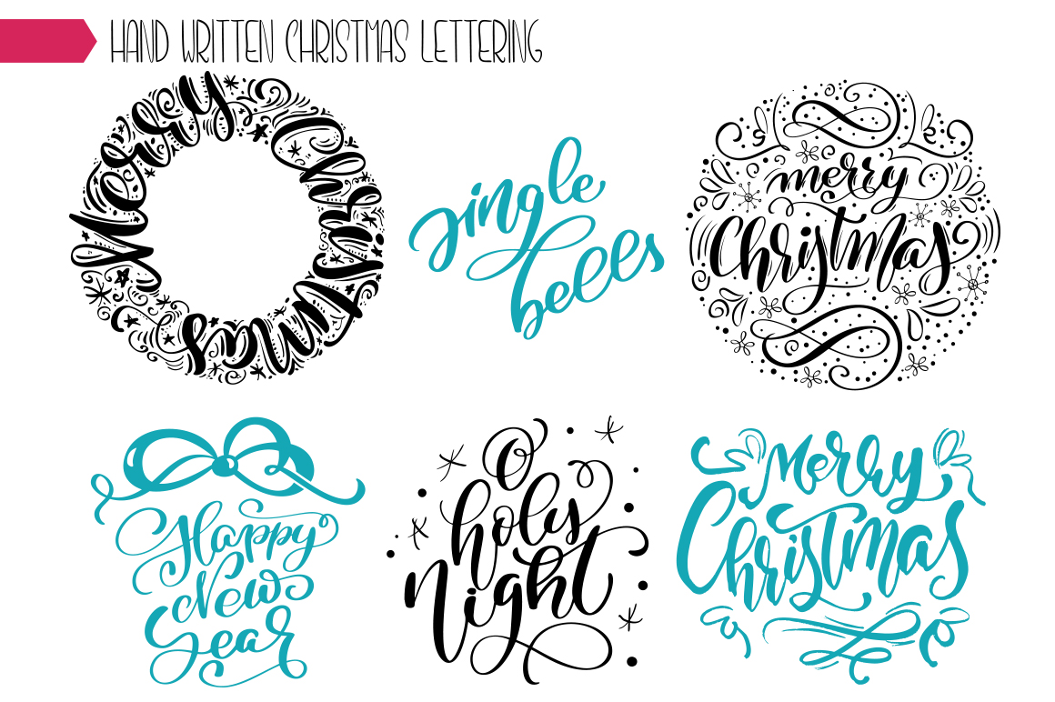 Christmas Lettering Phrases svg example image 9