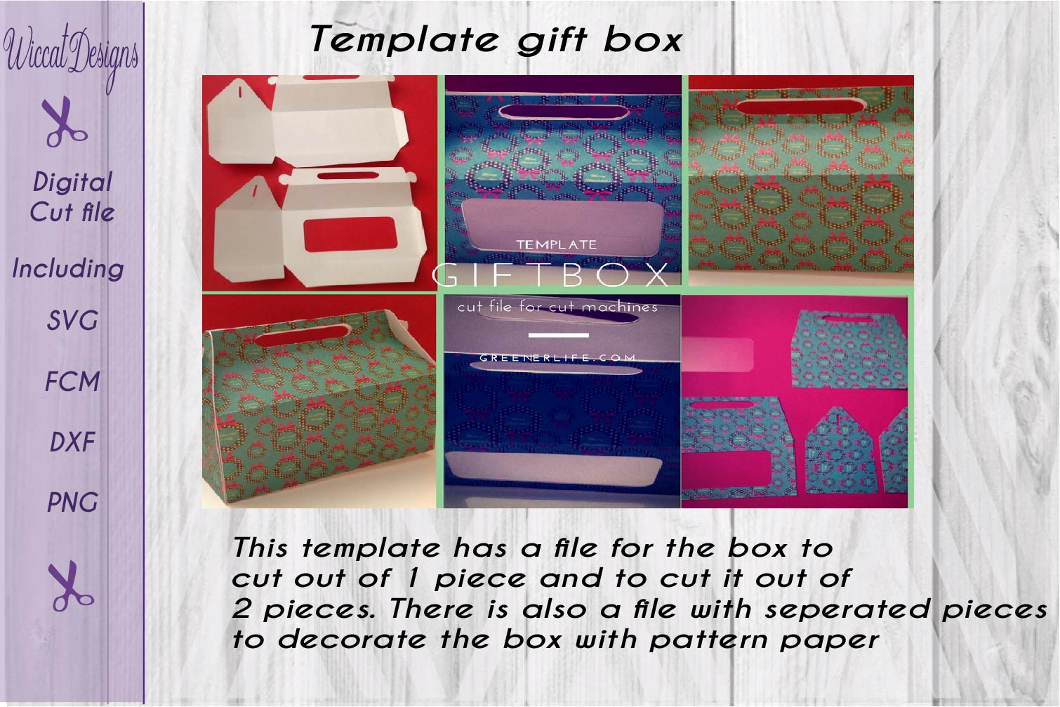 Gift box, paper Gift box svg, template box svg,  example image 2