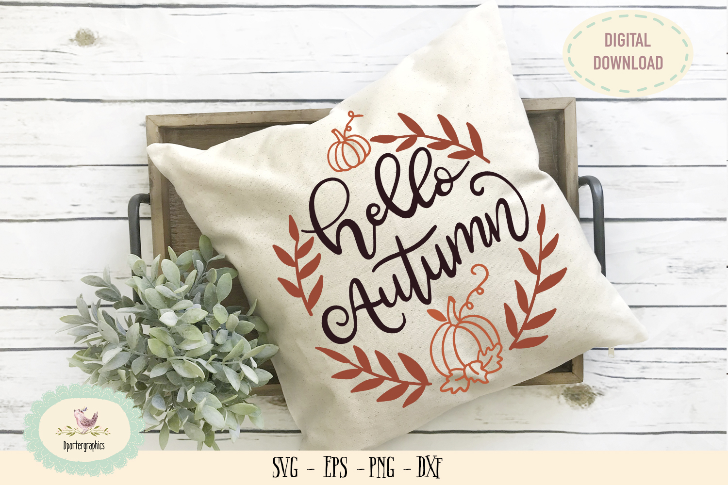 Hello Autumn pumpkin fall SVG PNG leaf wreath example image 1