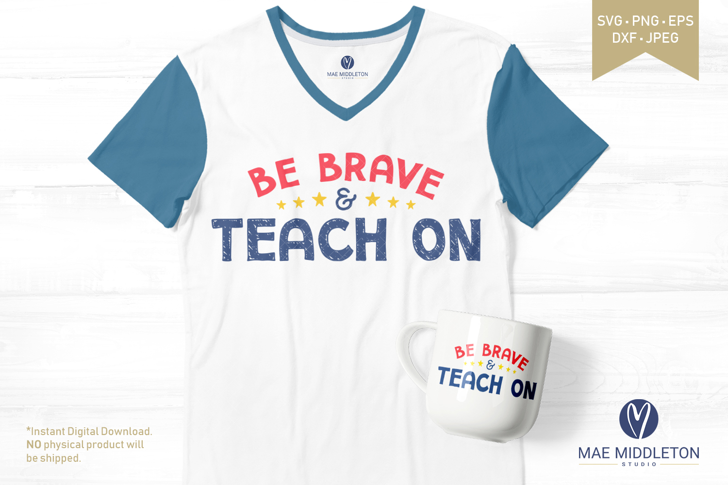 Be Brave & Teach on - printables, svg cut files example image 2