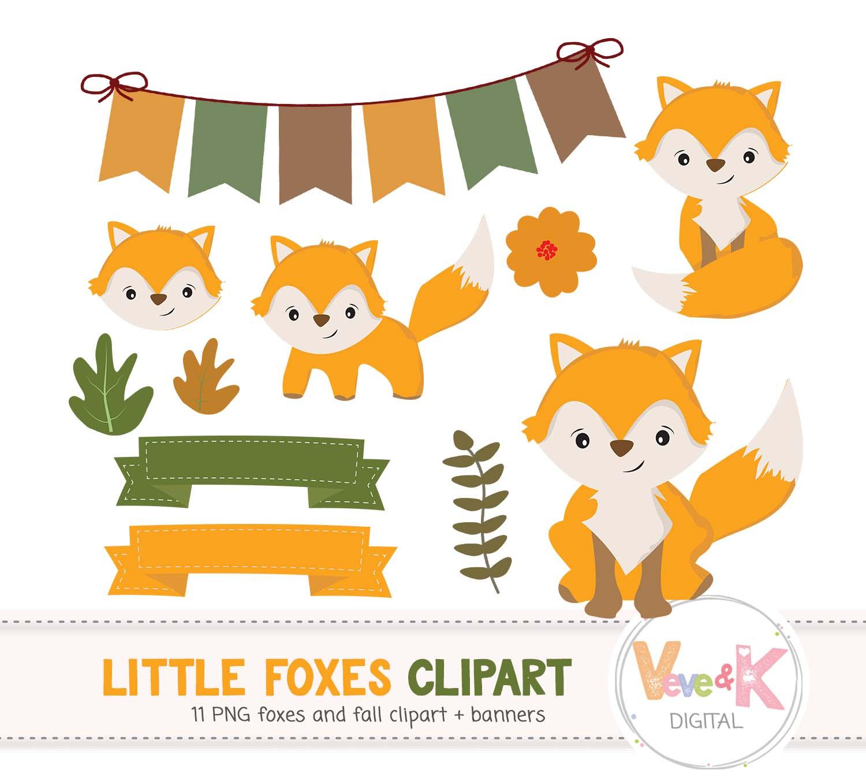 Fox woodland. Clip art cute clipart