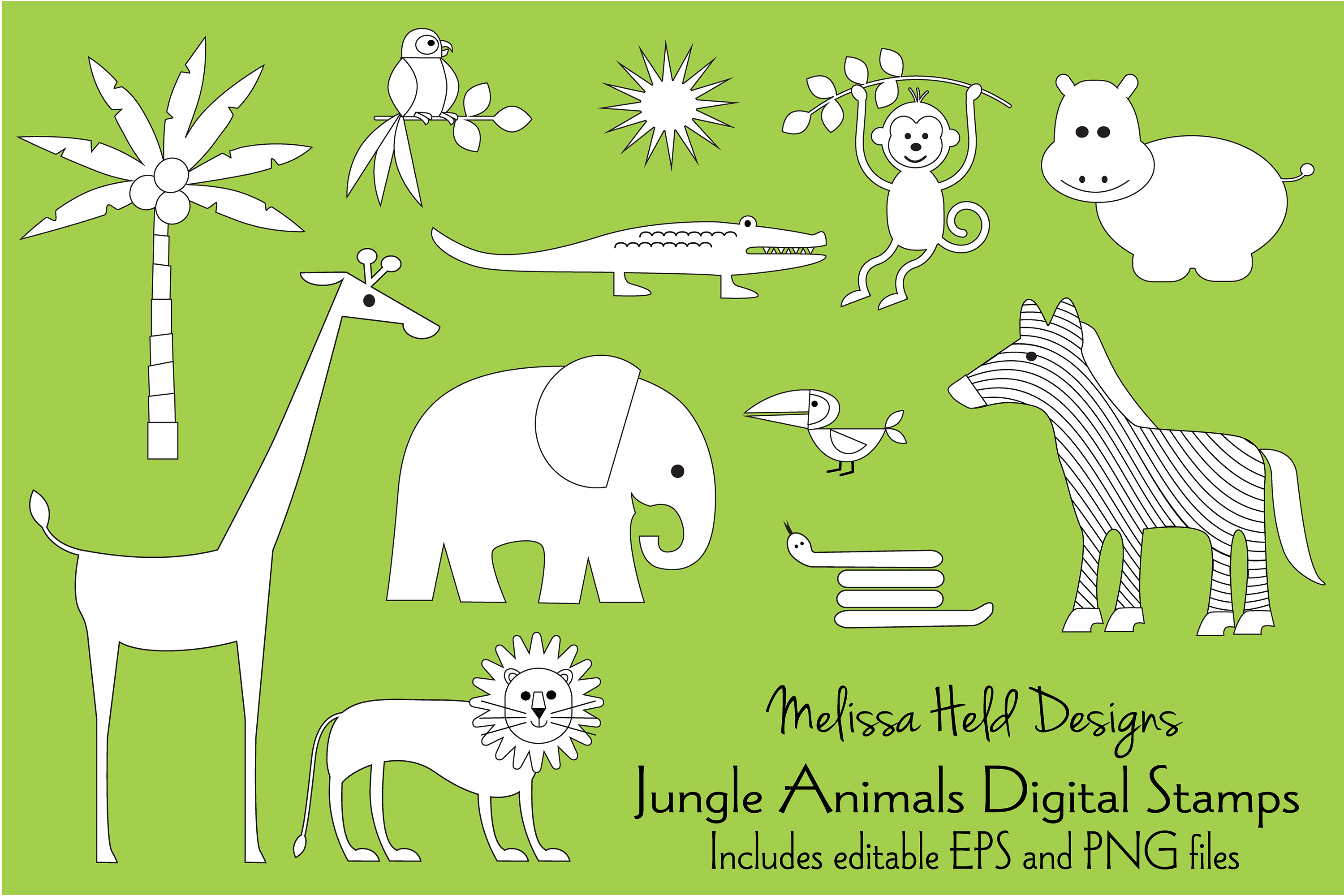 Jungle Animals Digital Stamps Clipart example image 1
