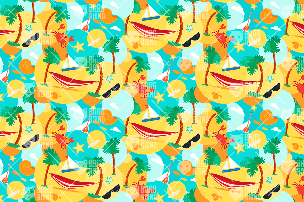 Summer Beach Seamless Pattern example image 4