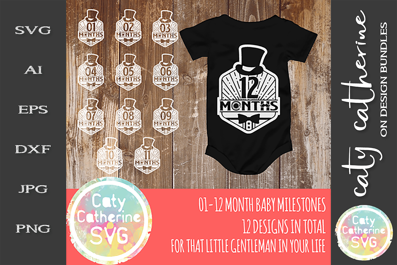Little Gentleman 1-12 Month Old Baby Milestone Design SVG example image 1
