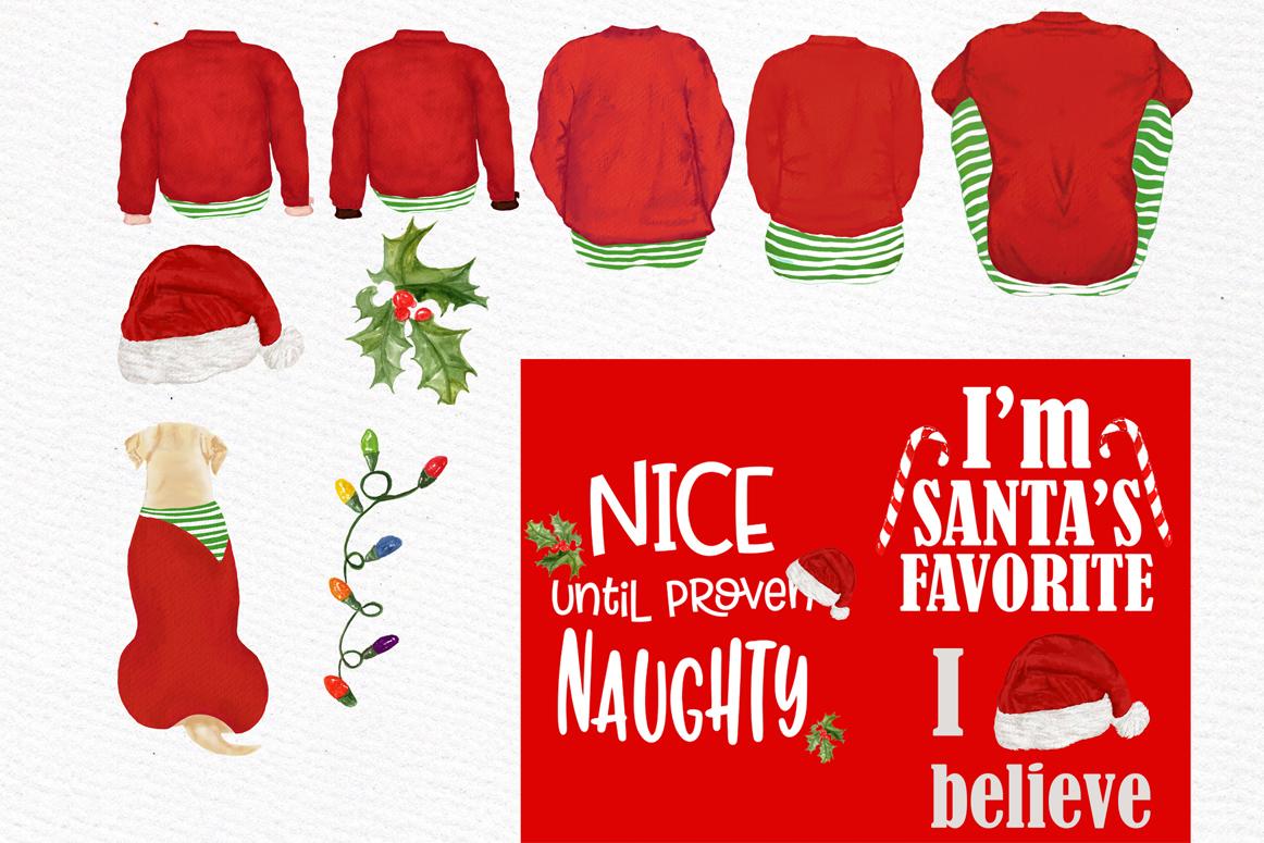 Christmas family clipart, Santa hat, Santa matching pajamas example image 5