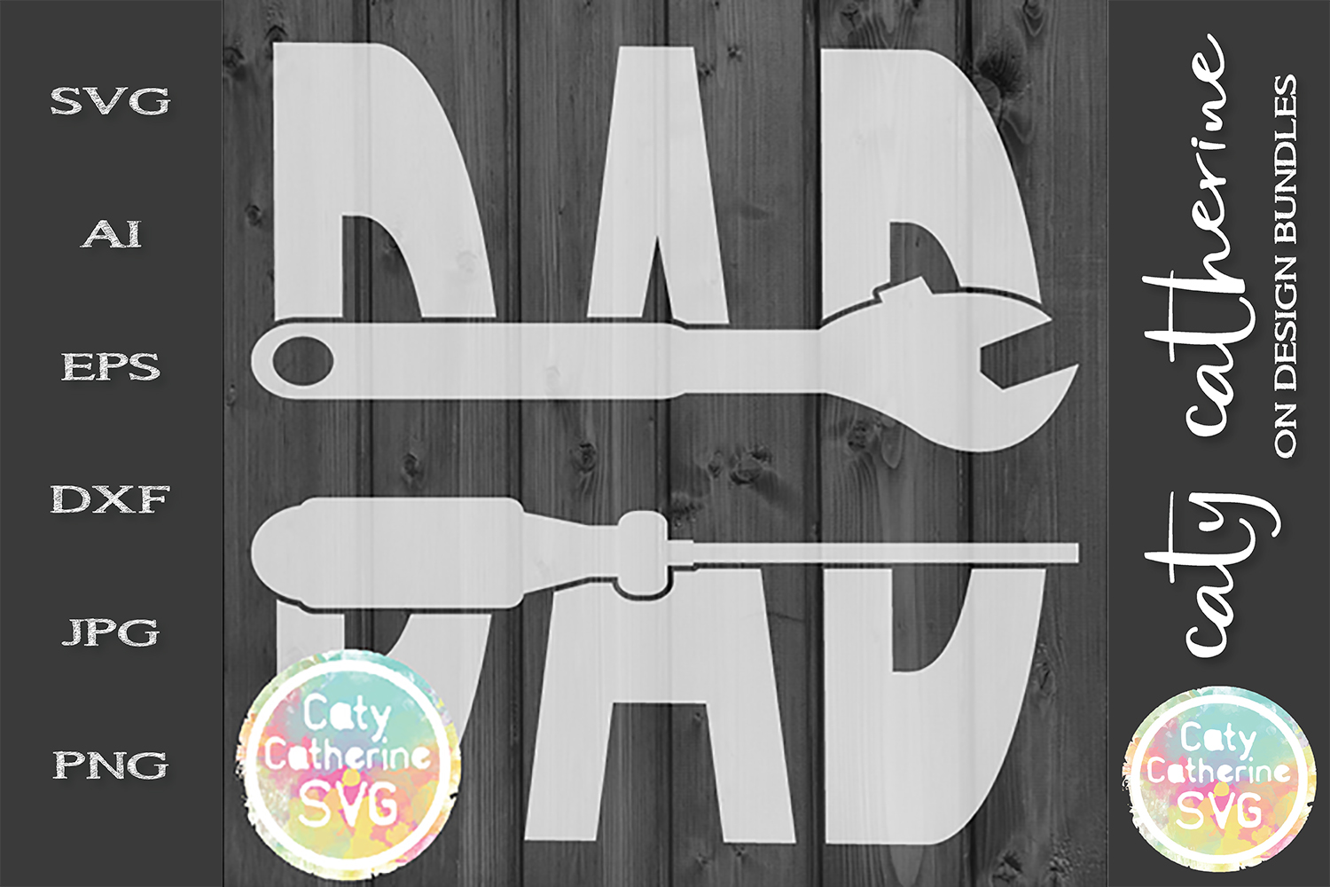 Screw Driver Ratchet DAD Split Monogram Father's Day SVG example image 1