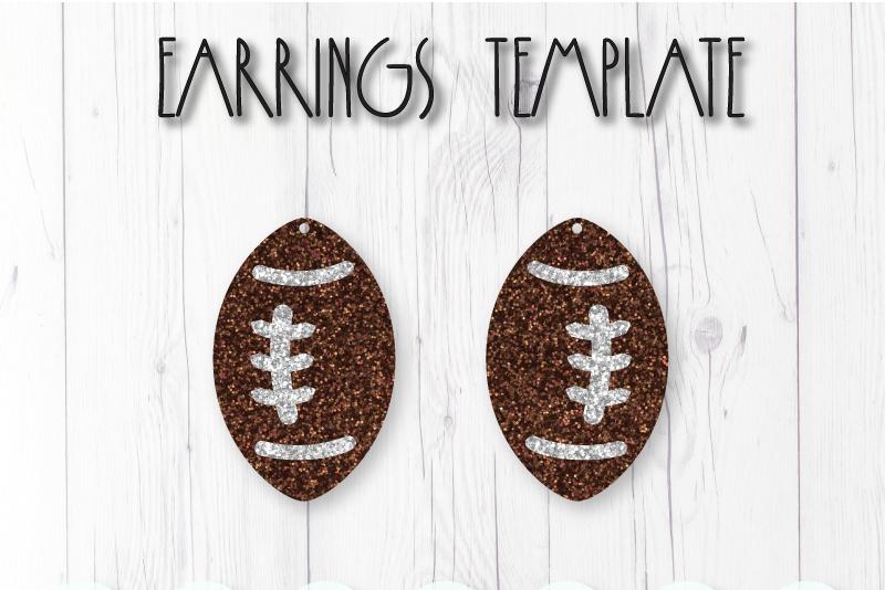 Football earrings template SVG, DIY earrings template example image 1
