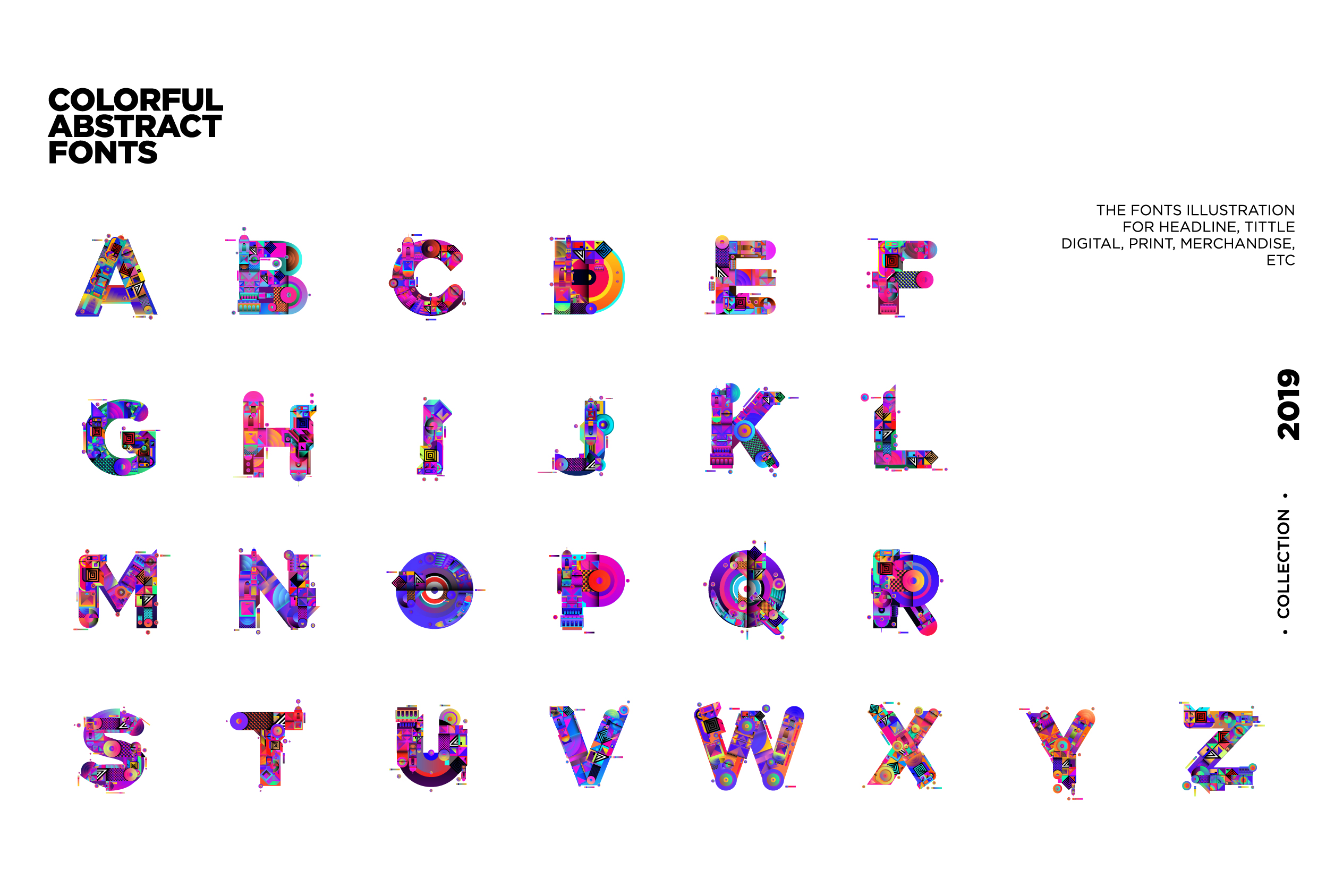 Colorful Alphabets Font Illustration example image 5