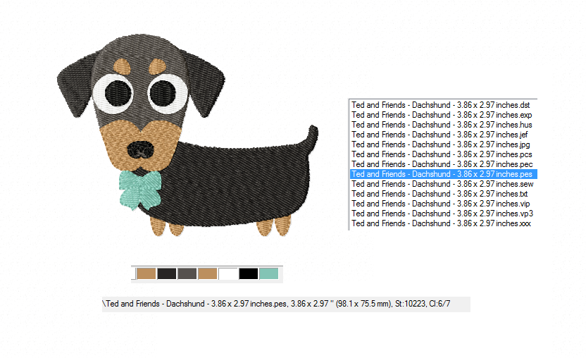 Dachshund Embroidery Designs in 2 sizes example image 2