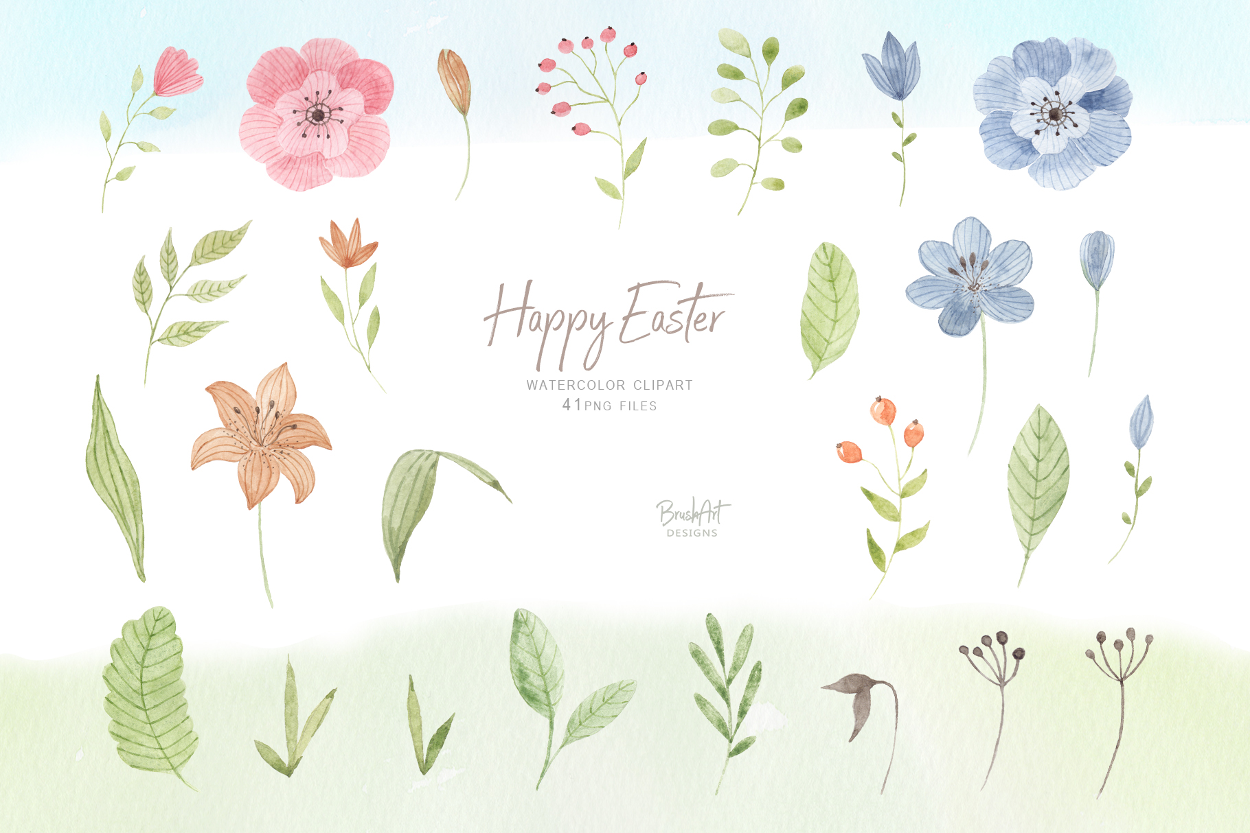 Happy Easter. Watercolor clipart. example image 3