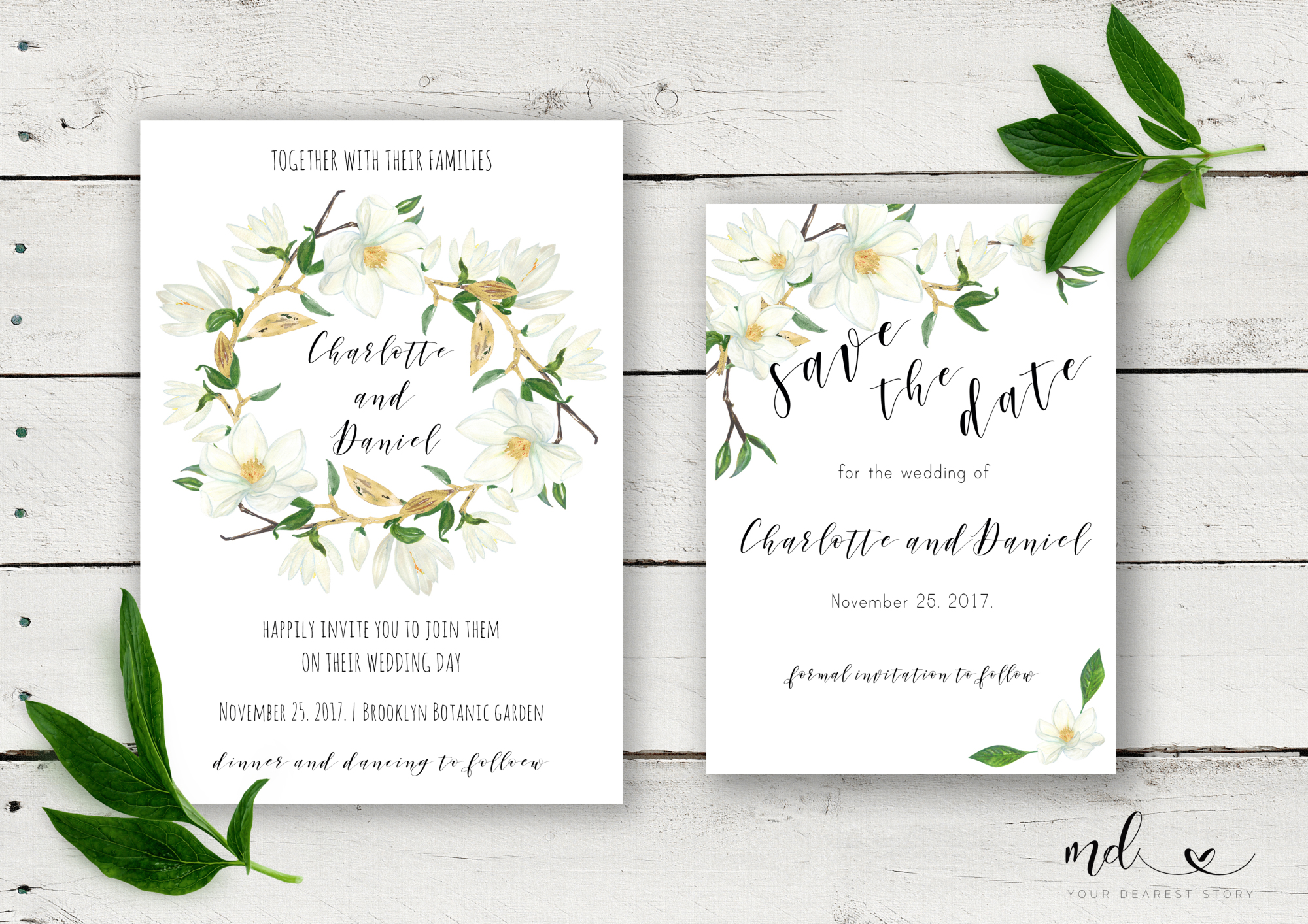 Magnolia Wedding Invitation & Save the date  example image 1