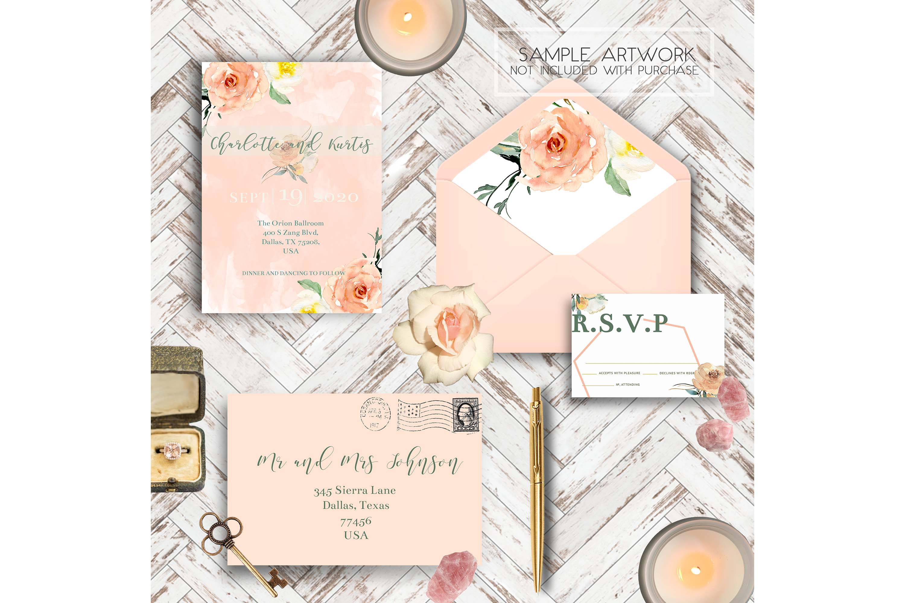 PSD Wedding Mockup/ Invitation Suite Mockup/ example image 4