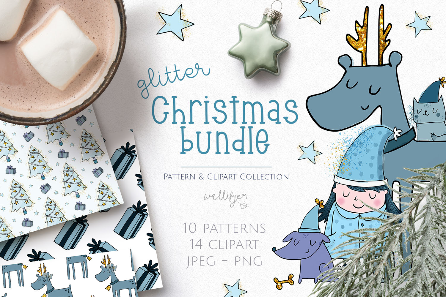 Christmas Clipart and Pattern Bundle example image 1
