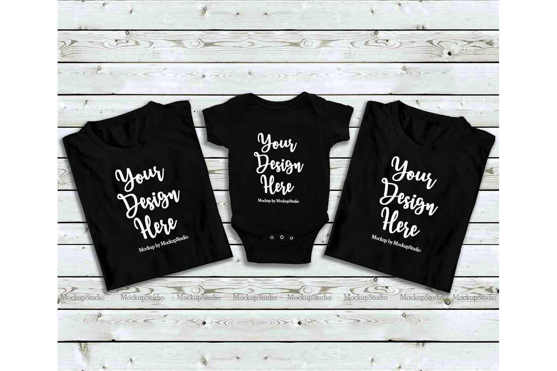 Family Black Folded Tshirt Mock Up, Baby Bodysuit Mockup example image 1