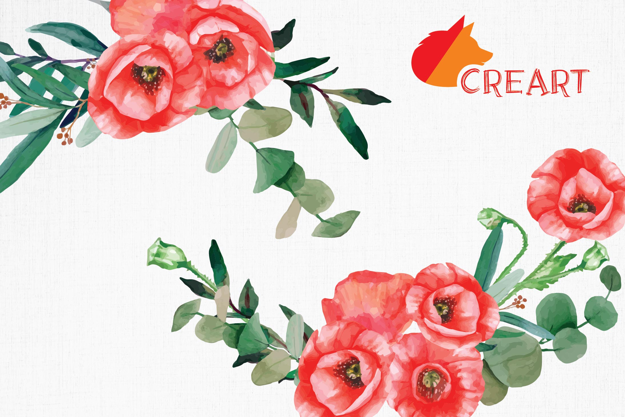 Red poppies floral watercolor wedding bouquets, floral decor example image 4