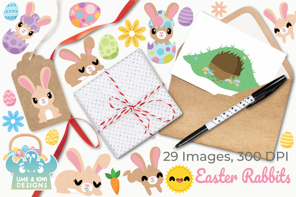 Easter Rabbits Clipart, Instant Download Vector Art example image 4
