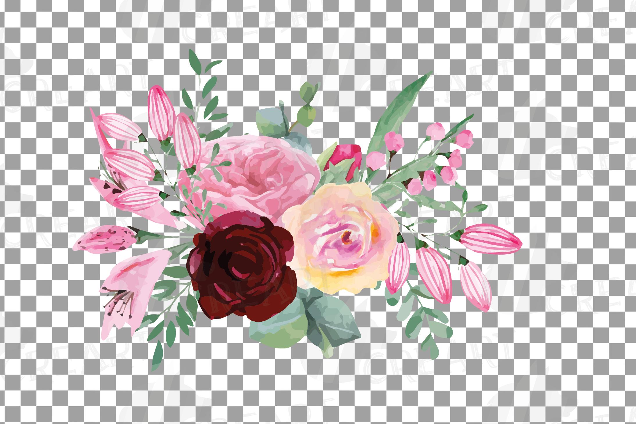 Watercolor elegant floral bouquets, rose, anemone decoration example image 15