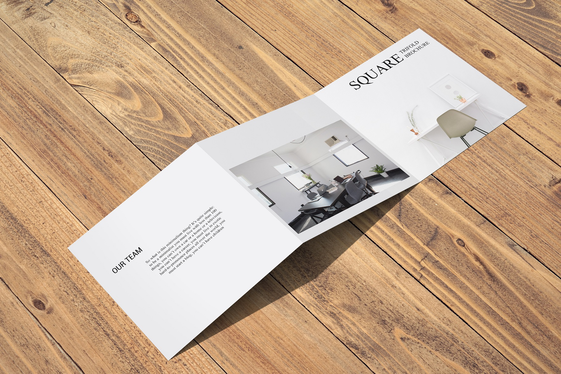 Square Trifold Brochure Mockup example image 16