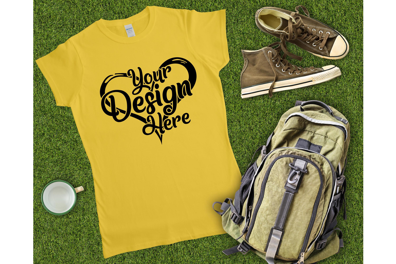 Gildan Ladies T-Shirt Mockup Mega Bundle Flat Lay 64000L example image 27
