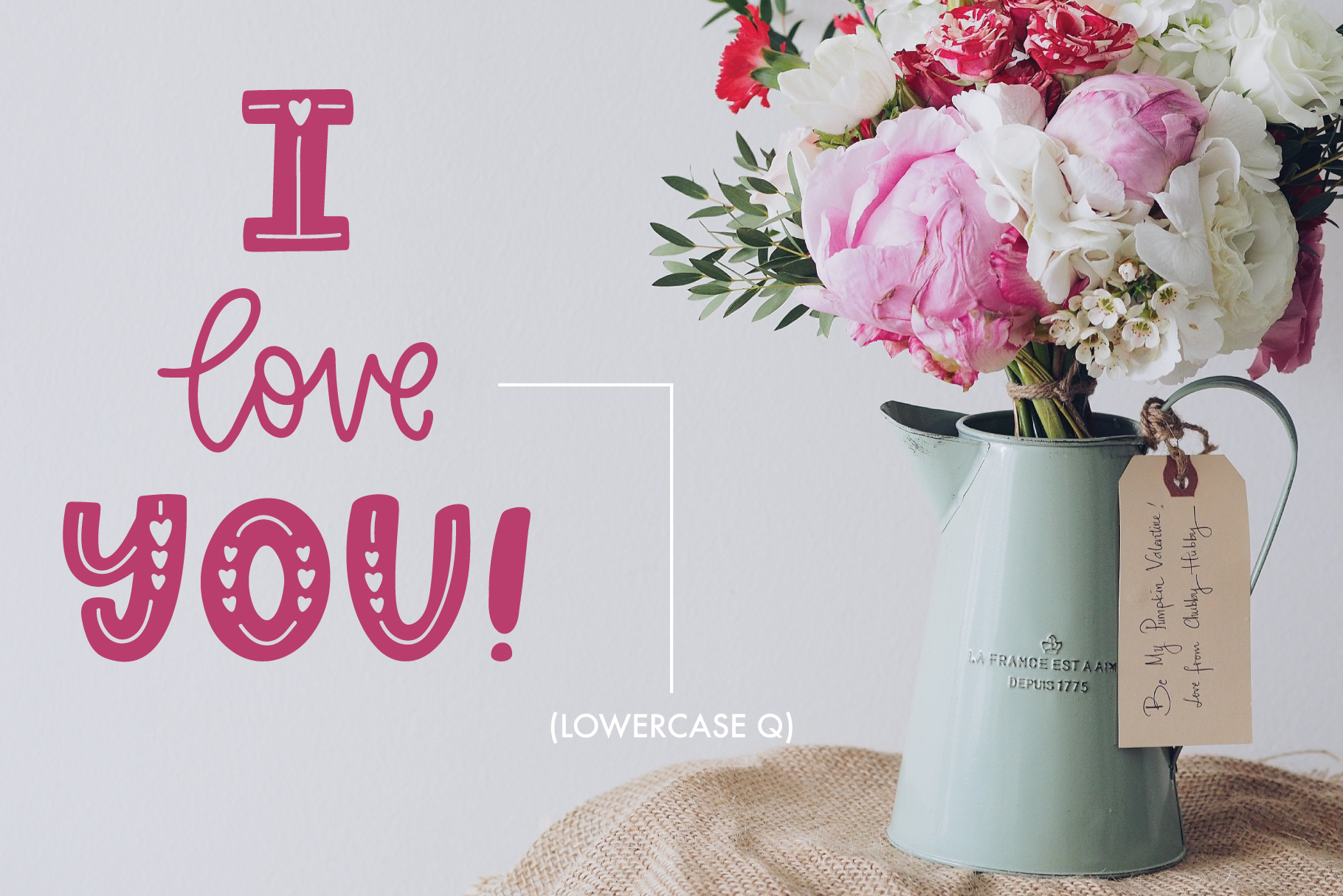 Love Struck, Thick Valentine's Heart Font example image 6