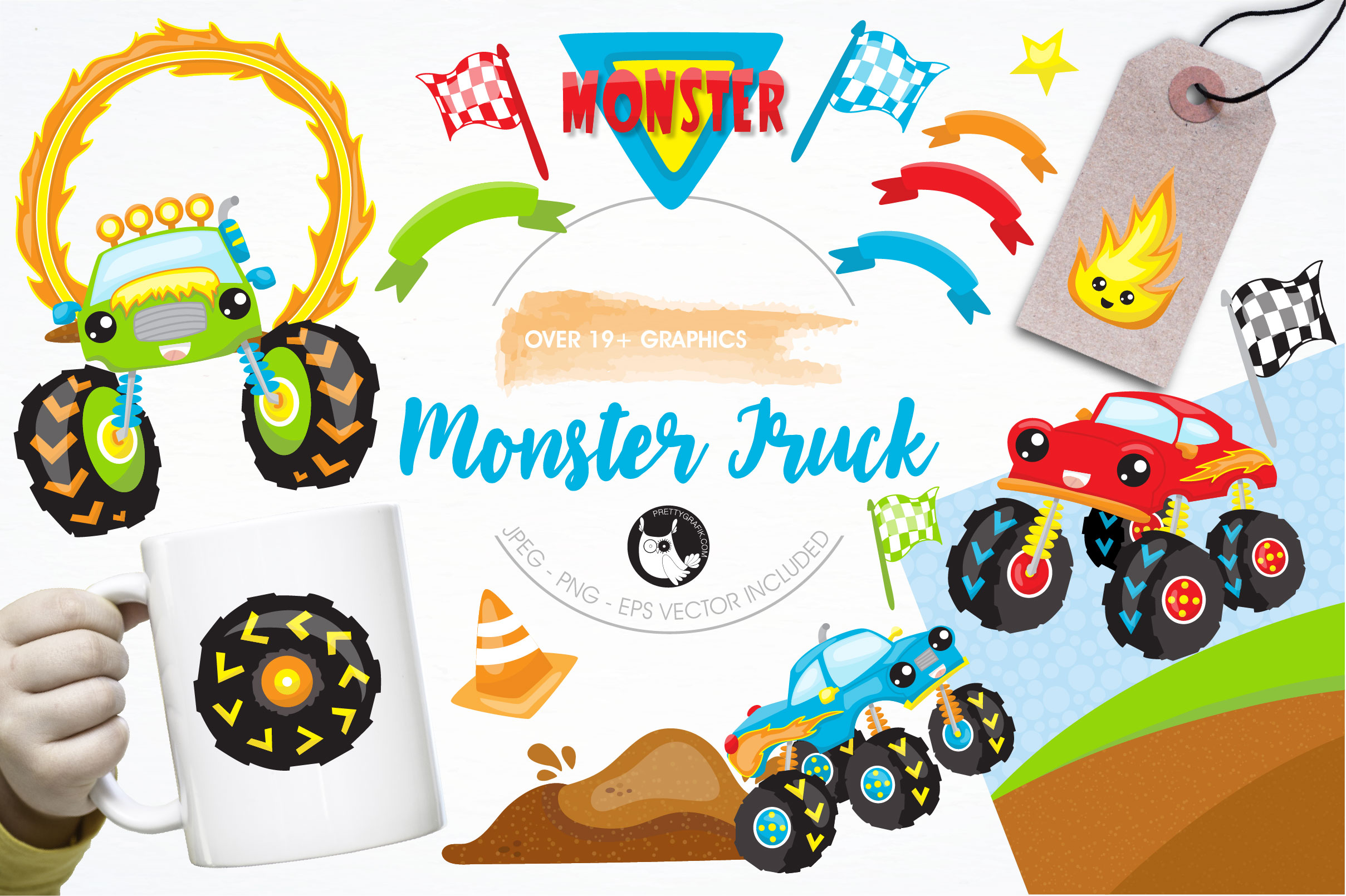 Monster truck graphics and illustrations example image 1