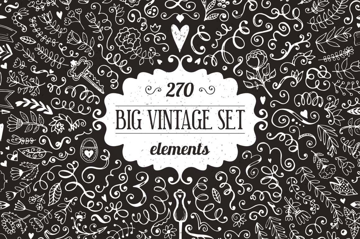 270 elements Vintage Decorations Set example image 1