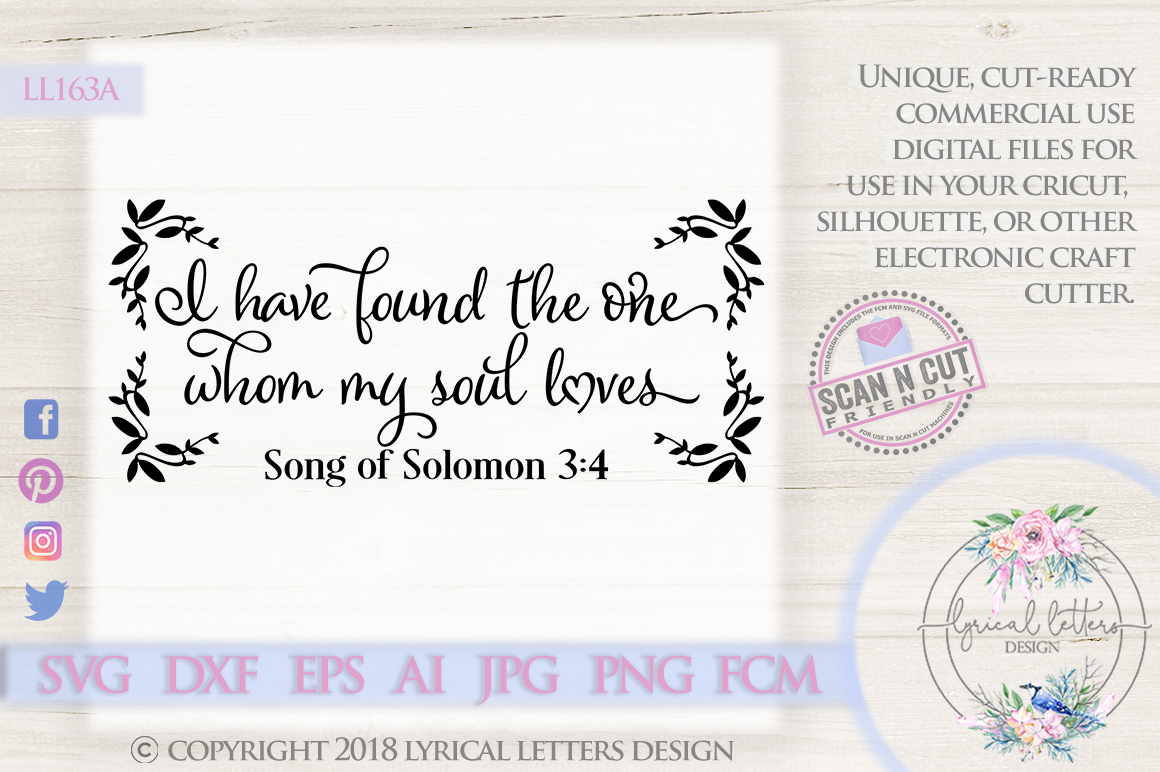 I Have Found the One Whom My Soul Loves SVG DXF LL163A example image 1
