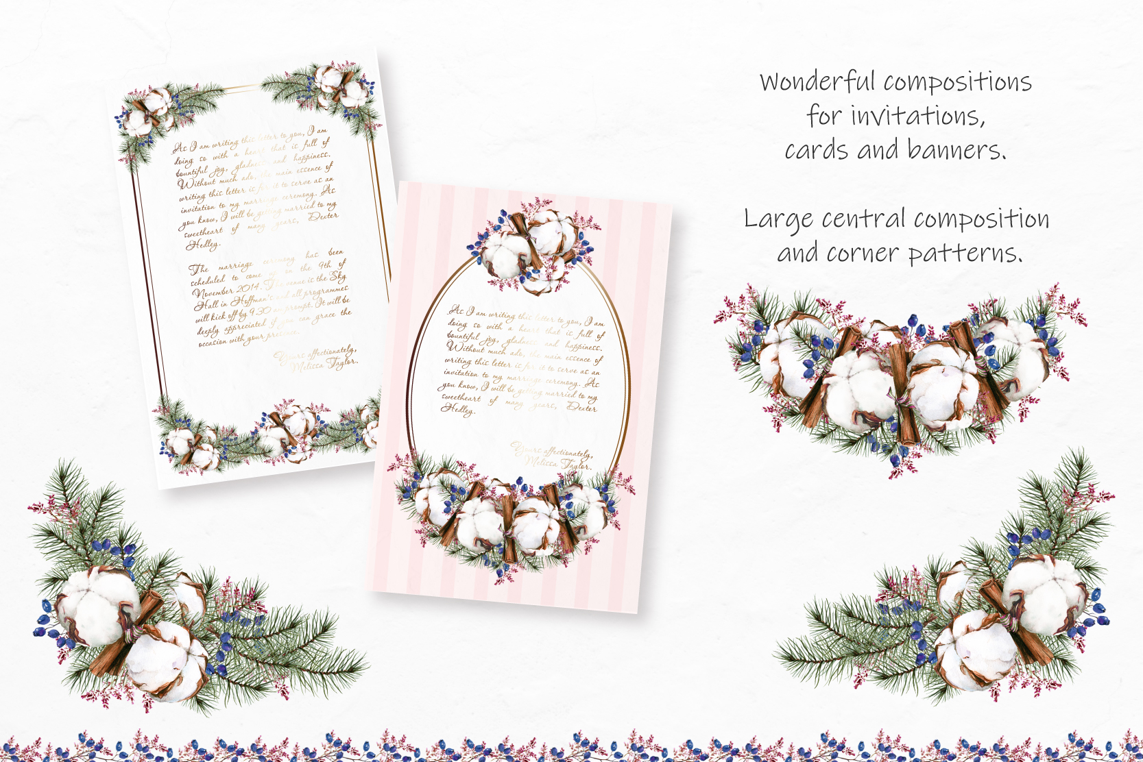 Watercolor Winter Wreaths | Clipart example image 7