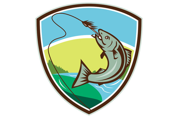 Trout Biting Hook Lure Shield Retro example image 1