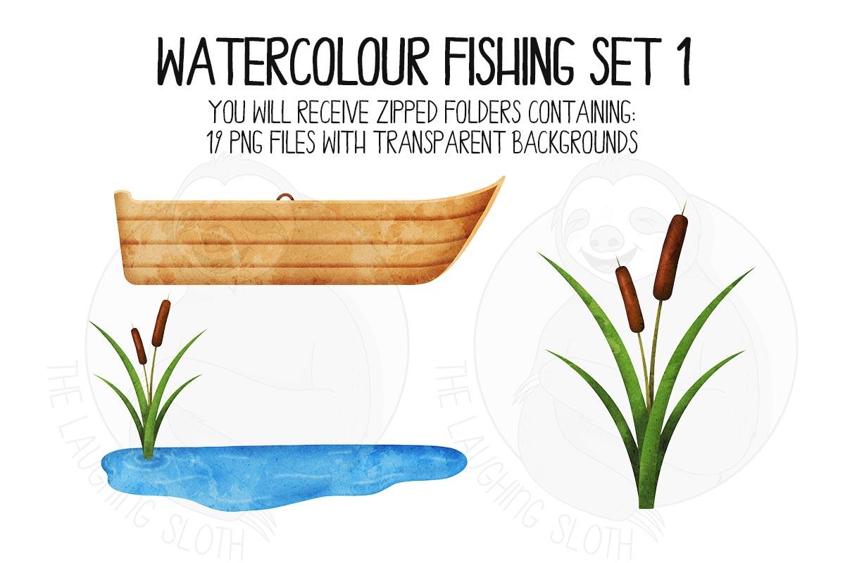 Watercolor Fishing Clip Art Set 1 example image 5