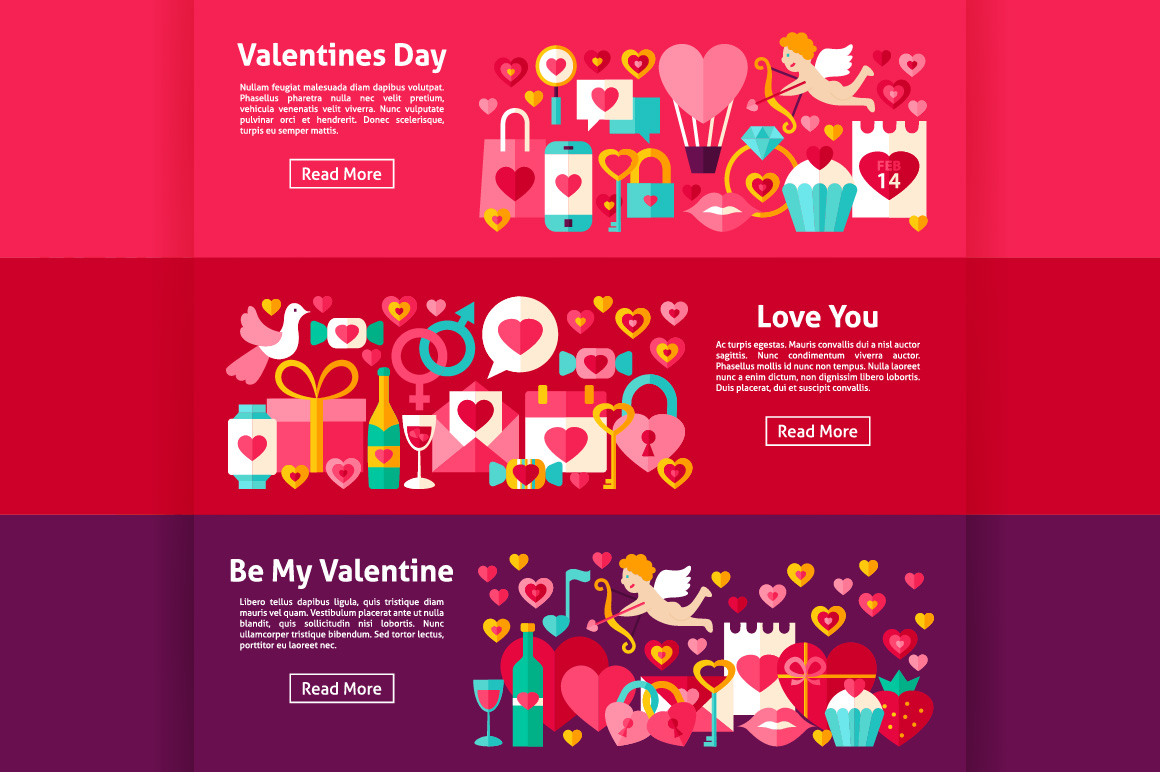 Valentine's Day Flat Banners example image 3