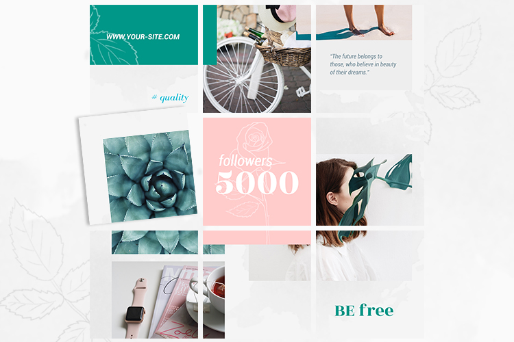 Instagram Puzzle Template - Rose example image 4