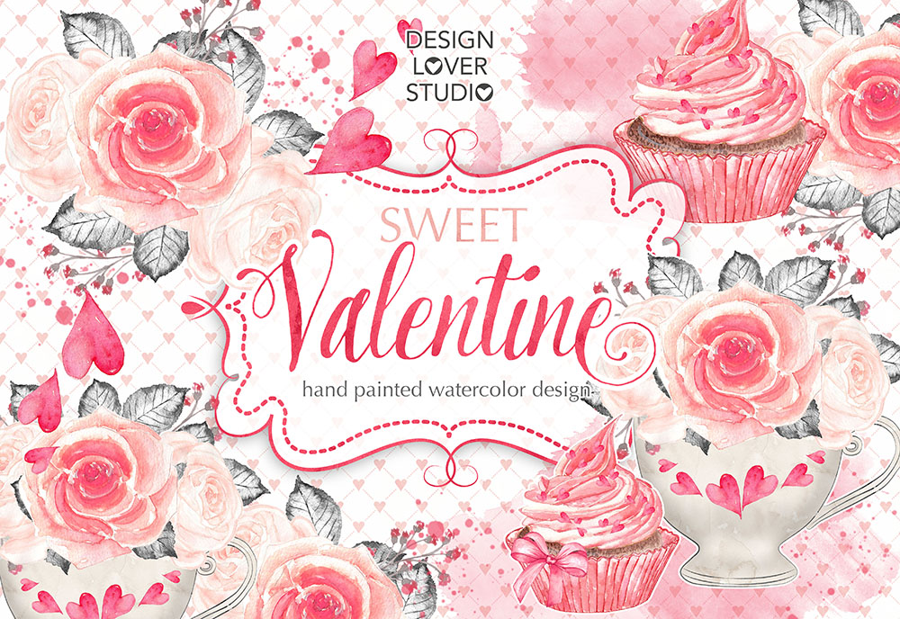 Watercolor Sweet Valentine design example image 2