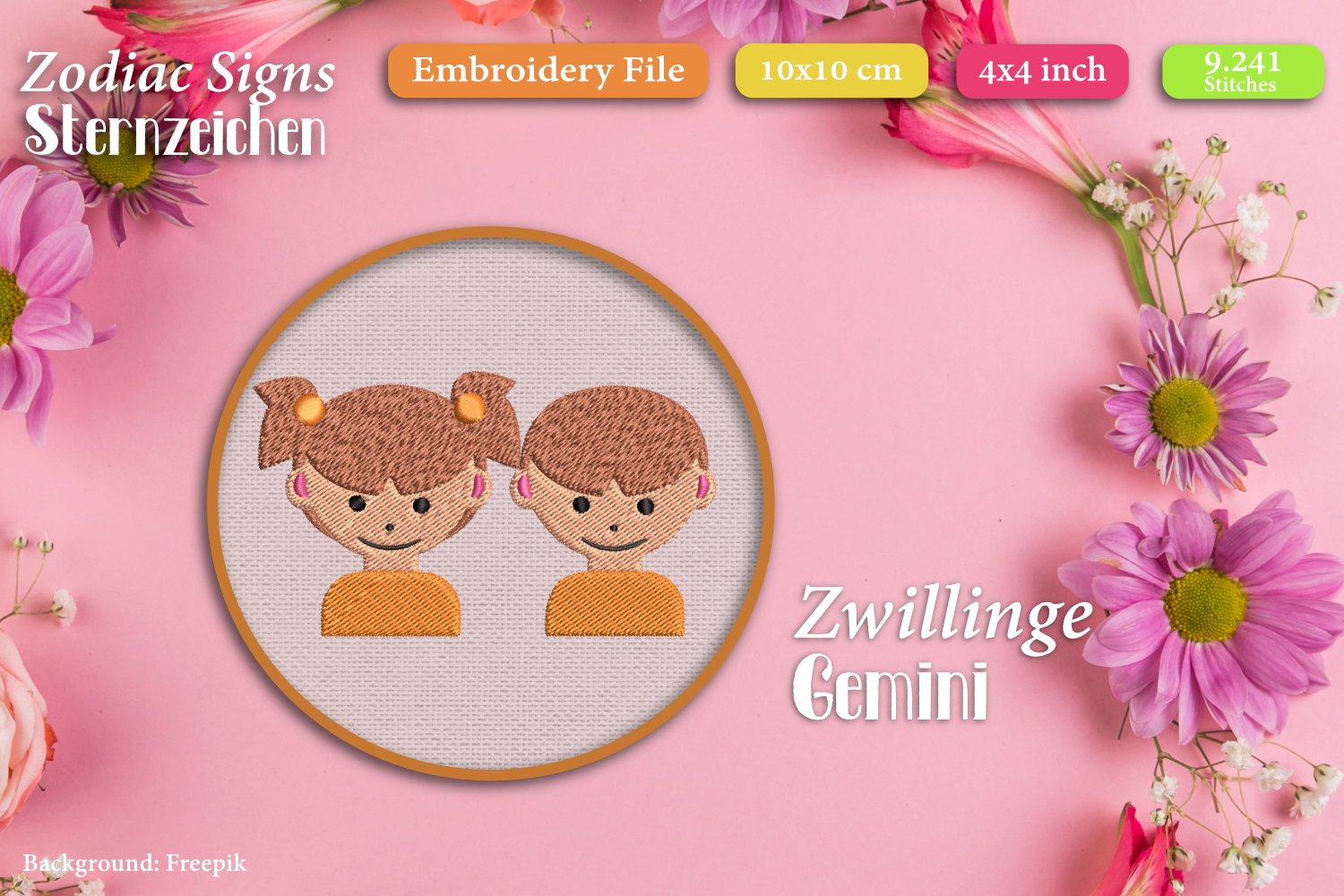 Zodiac signs - Embroidery Files - Bundle example image 7
