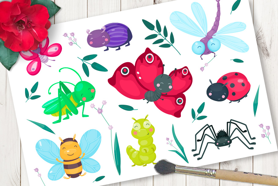 Cute cartoon vector insects example image 1