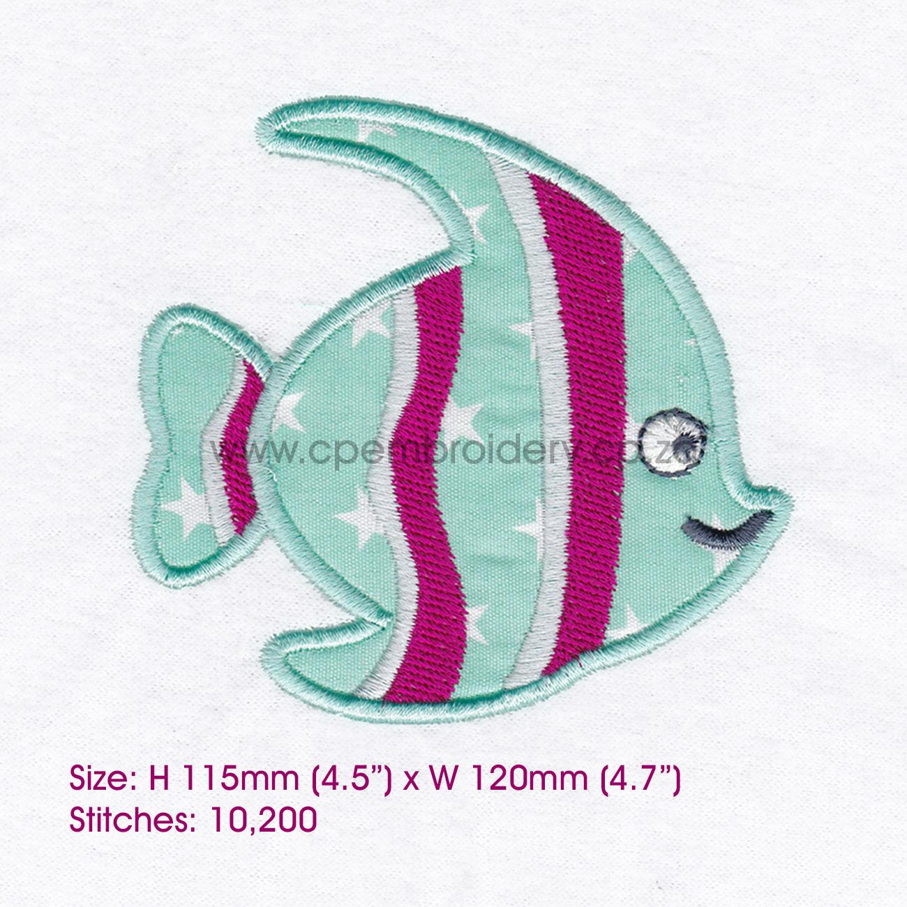 Striped Moorish Idol Pet Fish Applique Design example image 6