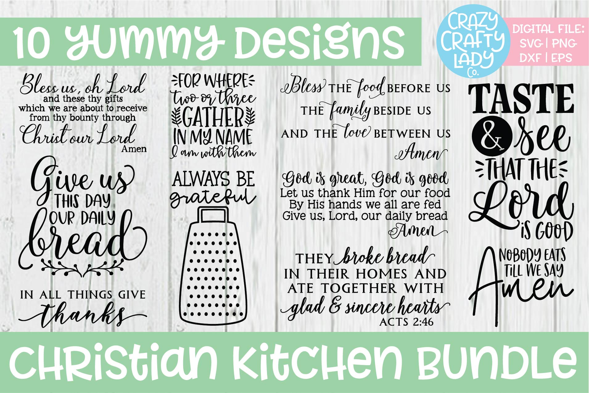 Christian Kitchen SVG DXF EPS PNG Cut File Bundle example image 1