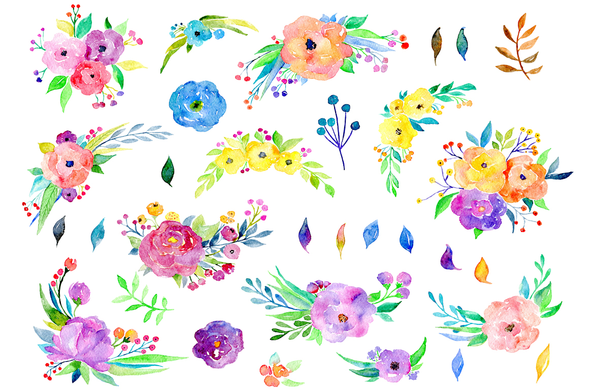 Bright colorful watercolor flowers example image 2