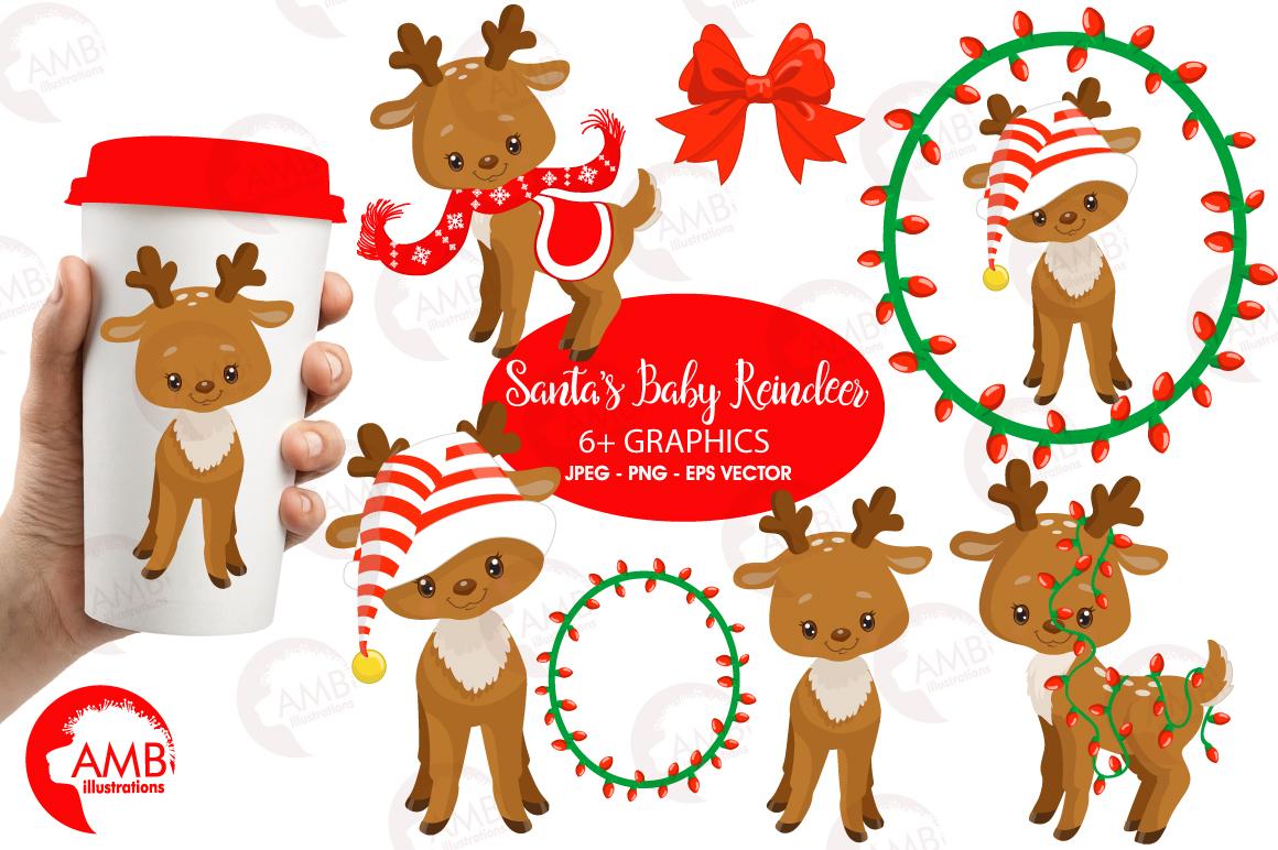 Santa's Baby Reindeer clipart, graphics, illustrationsAMB-1558 example image 1
