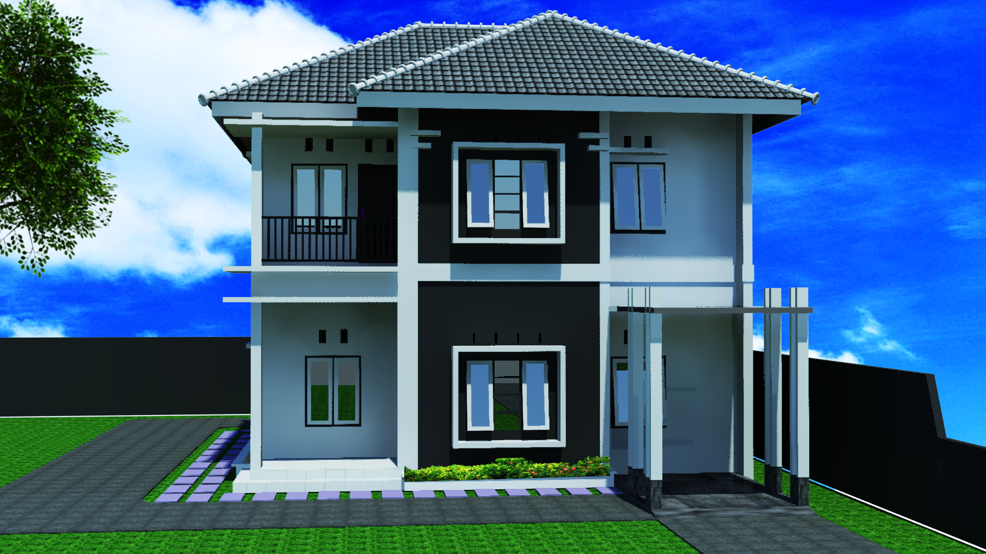 Minimalis Home 3D 2D 2nd floor example image 2