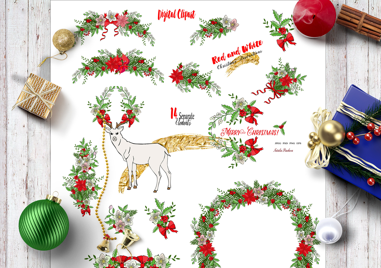 Red and White. Christmas Decorations example image 3
