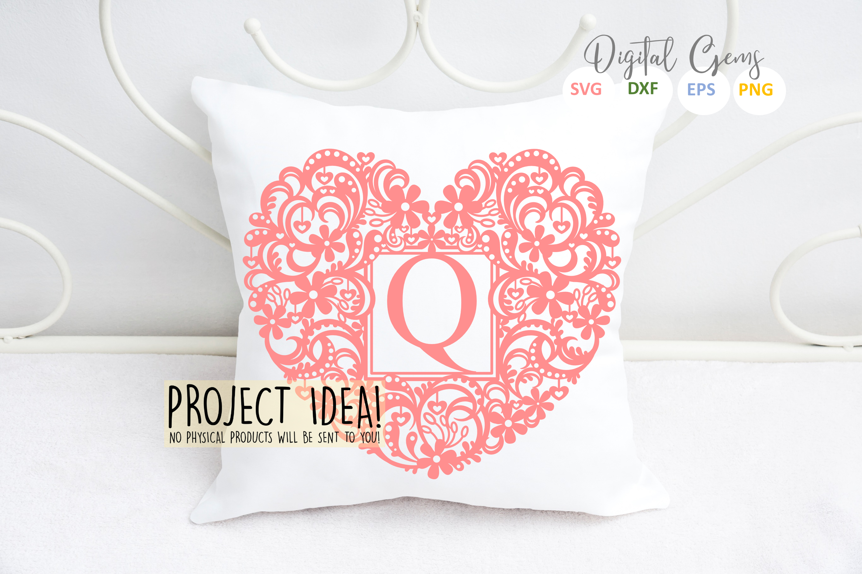 Letter Q paper cut design. SVG / DXF / EPS / PNG files example image 3