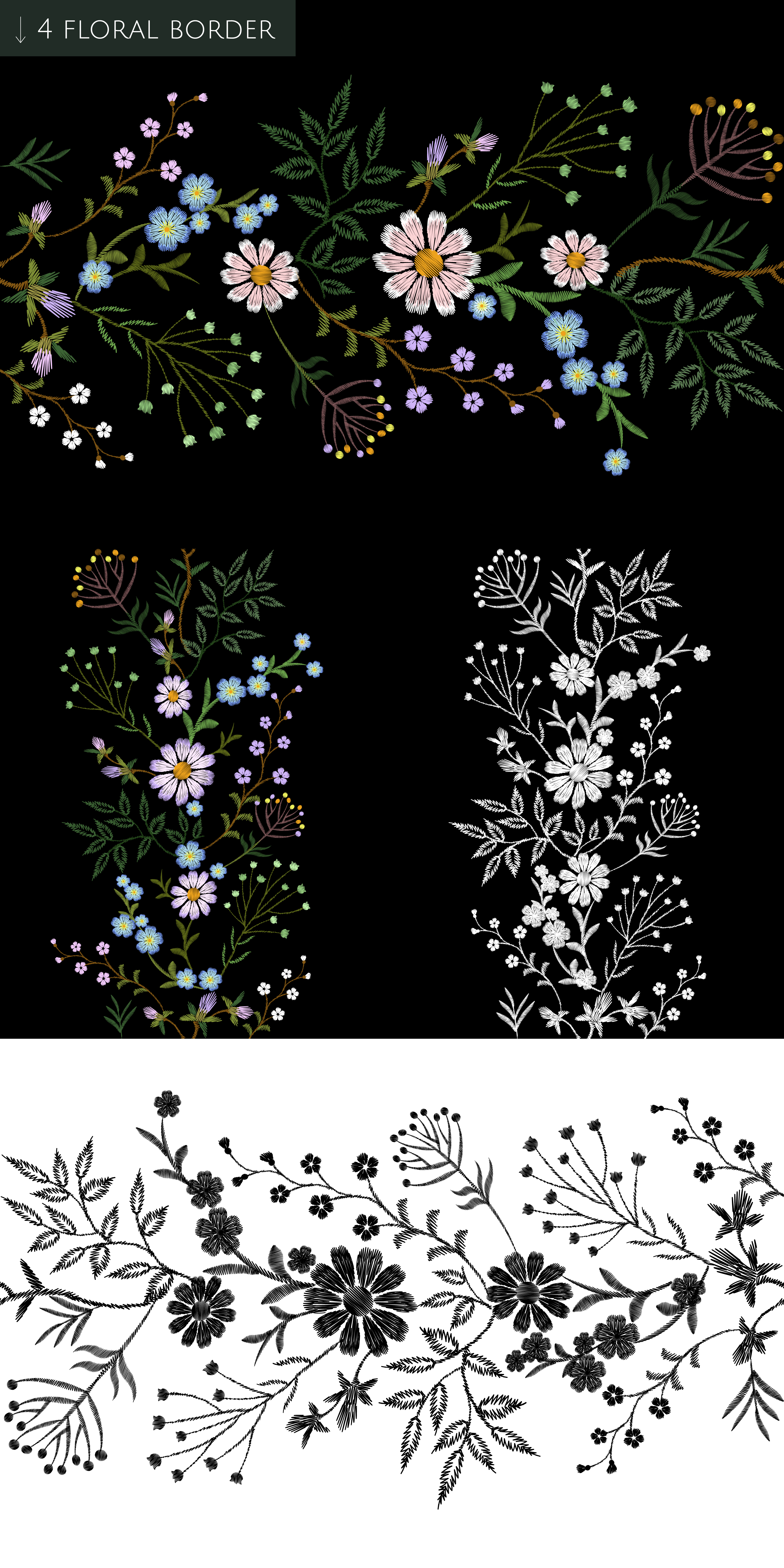 Tiny Flowers Vector Embroidery Print example image 7