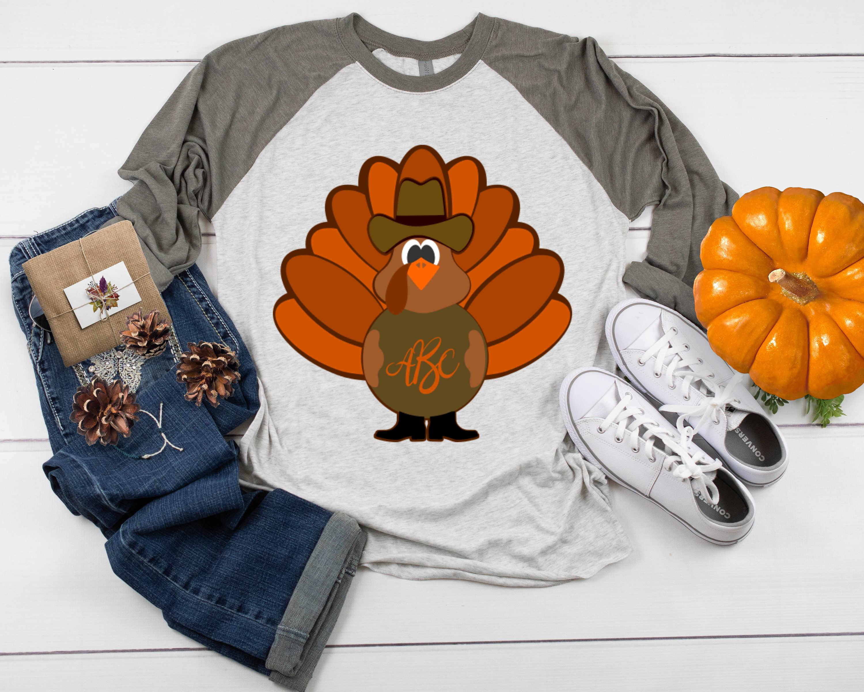 Western Turkey Thanksgiving Monogram Frame Cowboy Western Fa example image 2