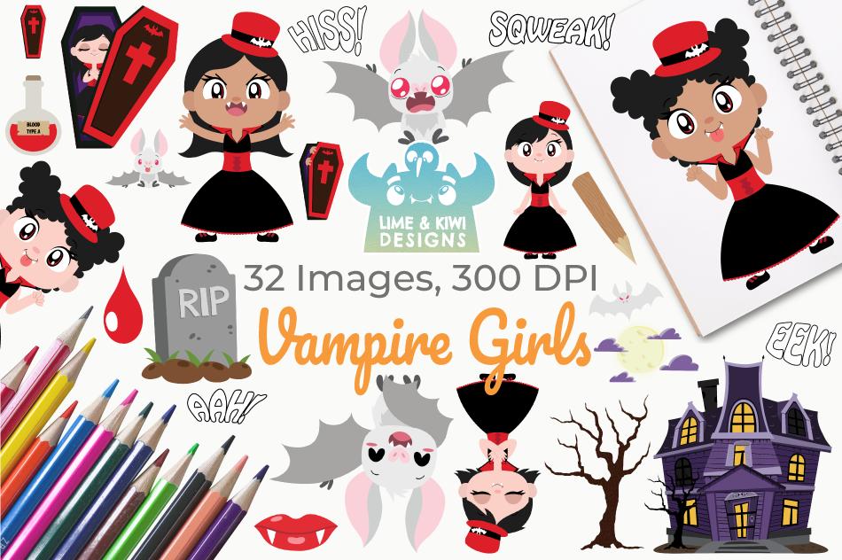 Vampire Girls Clipart, Instant Download Vector Art example image 1